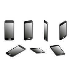 set of smartphones in 3d vector image