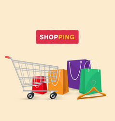 shopping cart shopping bag background image vector image
