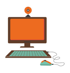 silhouette color with desktop computer and webcam vector image