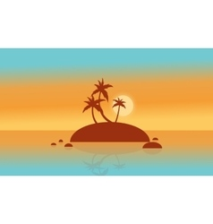 Silhouette of islands and palm at sunset vector