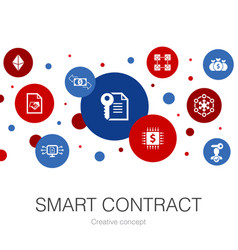 Smart contract trendy circle template with simple vector