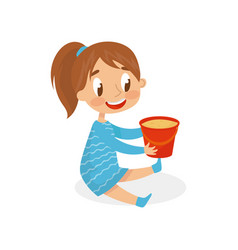 Smiling girl playing with bucket for sand kid on vector
