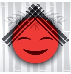 Smiling red sun with bamboo branches vector