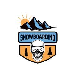 snowboarding emblem with snowboarder skull design vector image