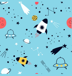 space pattern hand drawing vector image
