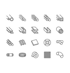 stainless steel flat line icons set metal sheet vector image