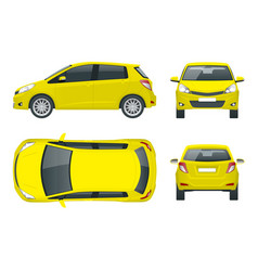 subcompact yellow hatchback car compact hybrid vector image