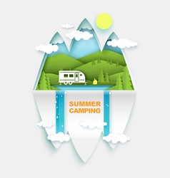 summer camping concept poster banner vector image