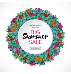 summer sale round frame sea shells and vector image