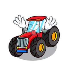 Tongue out tractor mascot cartoon style vector