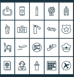transportation icons set with passport escalator vector image