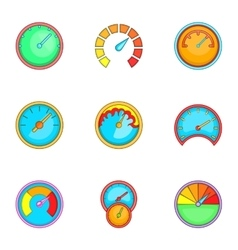 Types of speedometers icons set cartoon style vector image