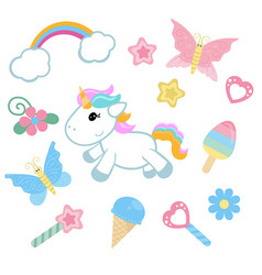 unicorn with magic design elements unicorn with vector image
