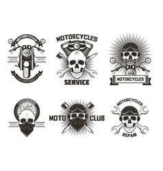 vintage black moto skull labels logos vector image