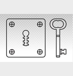 Vintage door keyhole access line art icon vector