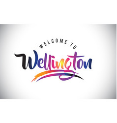 Wellington welcome to message in purple vibrant vector