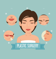 Woman plastic surgery process vector