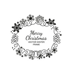 black snowflake frame white background xmas vector image vector image