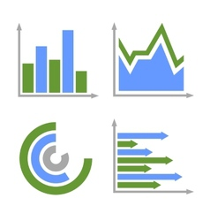 Blue and Green Business Graph Icons Set vector image vector image