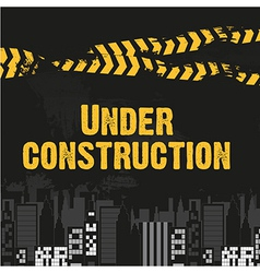 buildings with yellow and black ribbon grunge back vector image vector image