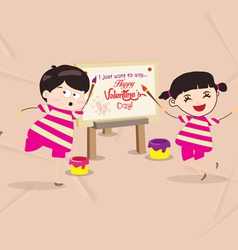 Kids funny painting valentines greeting card vector