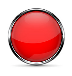 red round glass button with chrome frame vector image