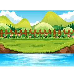 River scene with mountains background vector image