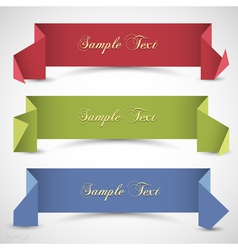 Three origami banners for design vector image vector image