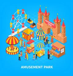 amusement park isometric background vector image vector image