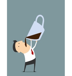 Cartooned businessman with coffee in flat style vector image