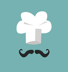 chef hat and big mustache vector image vector image