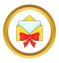 Christmas envelope with bow icon vector image vector image