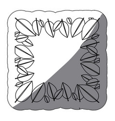contour leaves framework icon vector image