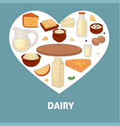 delicious dairy products from farm inside heart vector image