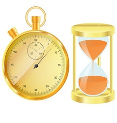 Gold stopwatch and hourglass vector image