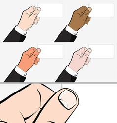 Hands holding Business Card vector image vector image