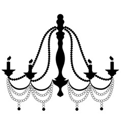 Retro Cryctal Chandelier with Candles Silhouette vector image vector image