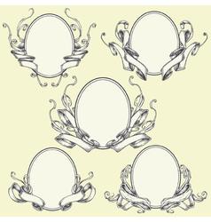 Ribbon frame and border ornaments set 04 vector image vector image