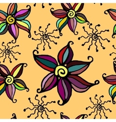 Seamless doodle flower background vector image vector image