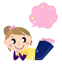 Cute dreaming girl with speech bubble vector image vector image