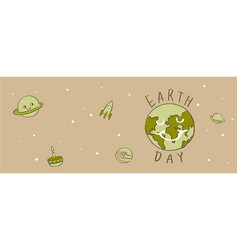 earth day typography cartoonearth vector image