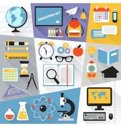 Education flat set vector image vector image