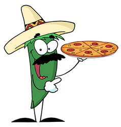 Green Pepper Character Holding A Pizza vector image vector image