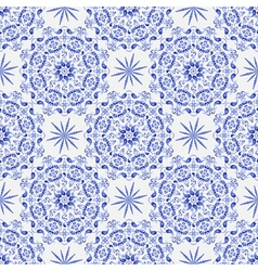 Vintage white-and-blue seamless pattern vector image
