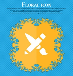 Brush Icon sign Floral flat design on a blue vector image vector image
