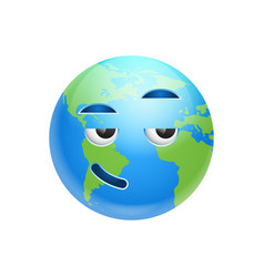 cartoon earth face smiling icon funny planet vector image vector image