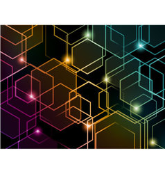 Hexagon colorful neon background vector image