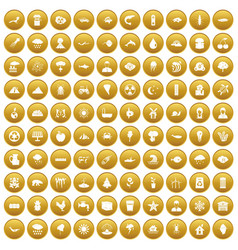 100 earth icons set gold vector