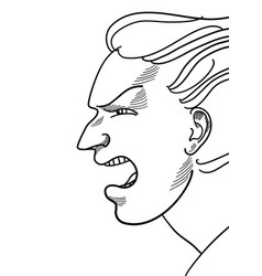 a drawing a face angry man vector image