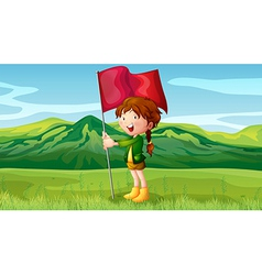 A girl holding a flag vector image
